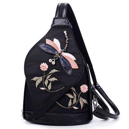 Women Creative Dragonfly Embroidery Versatile Chest Bag Shoulder Bag Backpack
