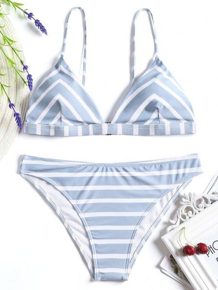 Wireless Stripes Printed Nylon Straped Bikini