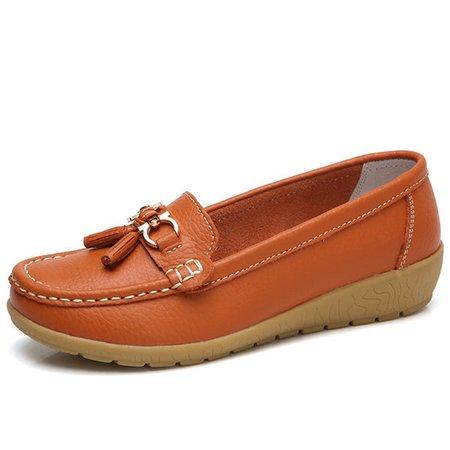 Metal Tassel Soft Leather Flat Loafers