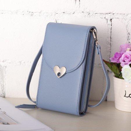 Ladies Cute Love Shape Button 6 Card Slots PU Leather Phone Purse Crossbody Bag