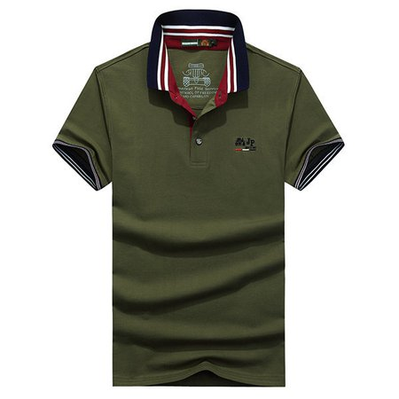 Solid Color Casual Cotton Tops Turn-down Collar Short Sleeve Business Polo Shirt