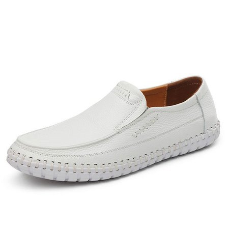 Large Size Men Hand Stitching Soft Doug Shoes Slip On Faux Leather Loafers