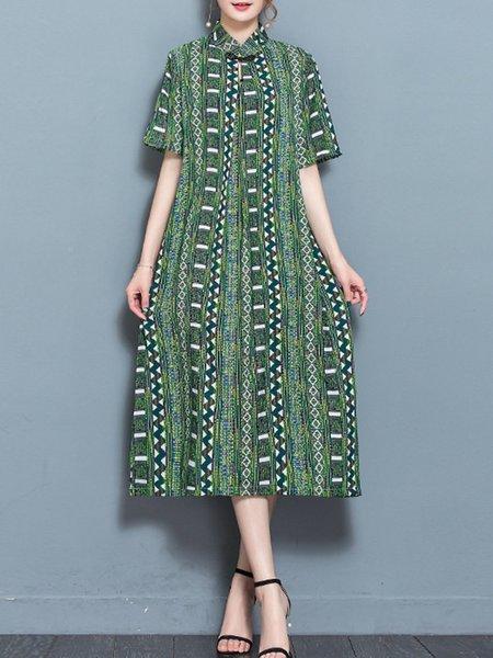 Women Elegant Dress A-line Daytime Short Sleeve Printed Dress