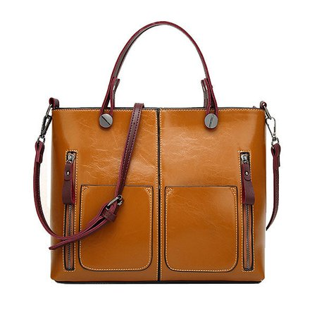 Women Retro Oil PU Leather Tote Handbags Crossbody Bags