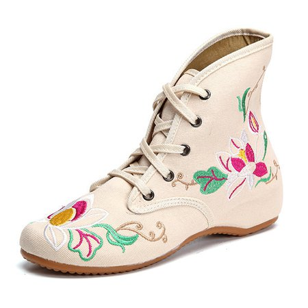 Floral Print  Embroidery Lace Up Retro Wedge Heel Boots