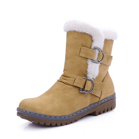 Large Size Fur Lining Buckle Mid Calf Warm Boots For Women