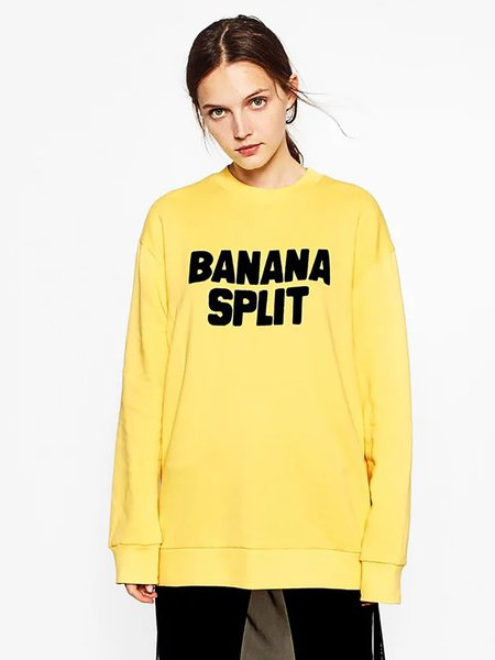 Yellow Cotton-blend Long Sleeve Letter Sweatshirt