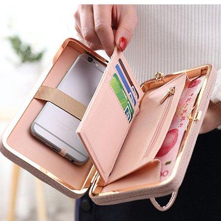 Women Bow Decoration Universal PU Phone Wallet Card Holder Purse