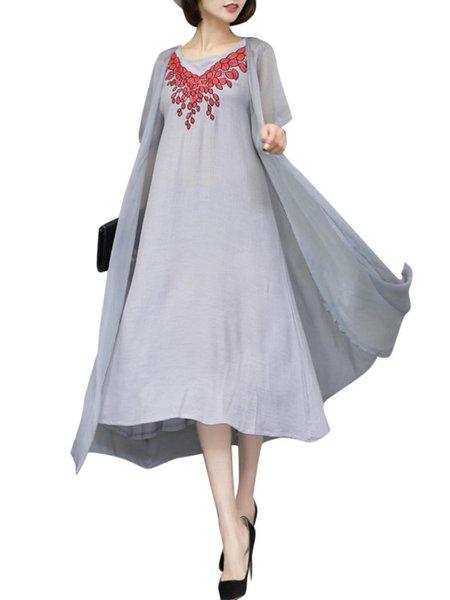 Paneled Crew Neck Embroidered Vintage Dress