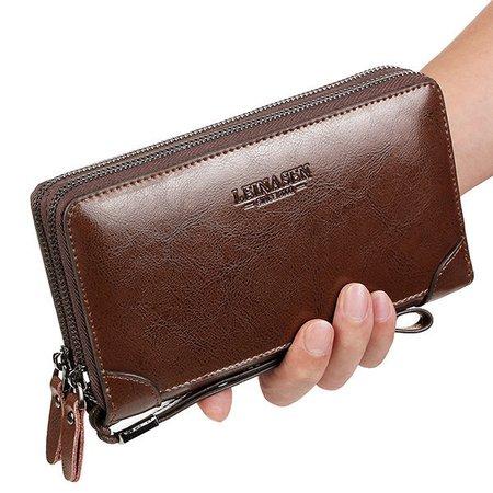 Faux Leather Clutch Bag 7 Card Slots Business Vintage Card Bag Wallet For Men