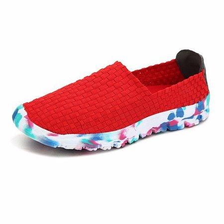 Handmade Knitting Weave Slip On Flat Sport Outdoor Shoes
