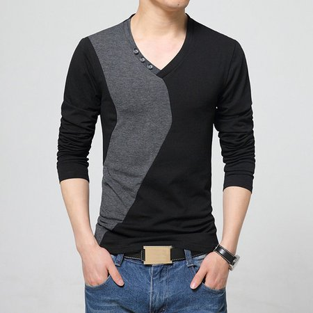 Mens Cotton Oversize V-Neck Slim Fit Long Sleeve T-Shirt