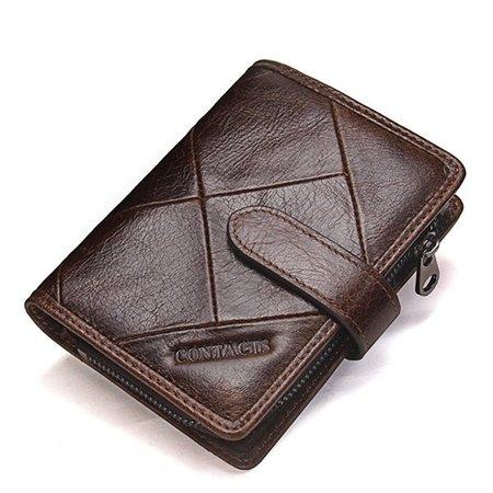 Women Men Genuine Leather Casual Patchwork Activity Zipper Wallet