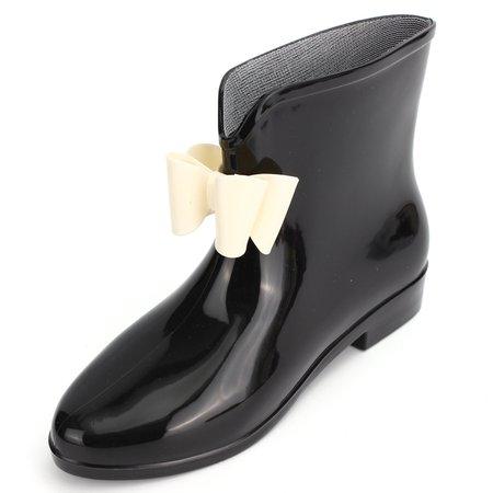 Black PVC Bowknot Waterproof Slip On Ankle Rain Boots