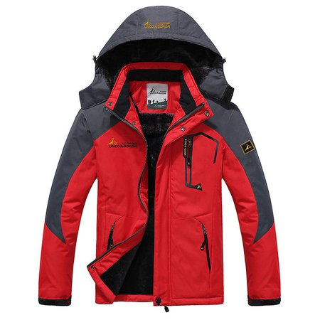 Plus Size Outdoor Water Resistant Skiing Climbing Thicken Warm Windproof Jacket for Men