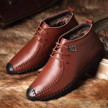 Men Hand Stitching Faux Leather Plush Lining Winter Casual Shoes