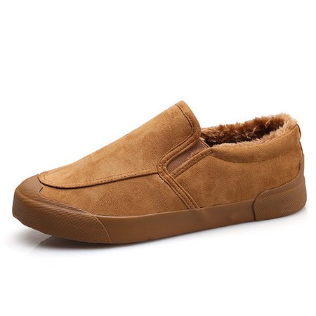 Men Canvas Low Top Warm Lining Flat Slip On Boots