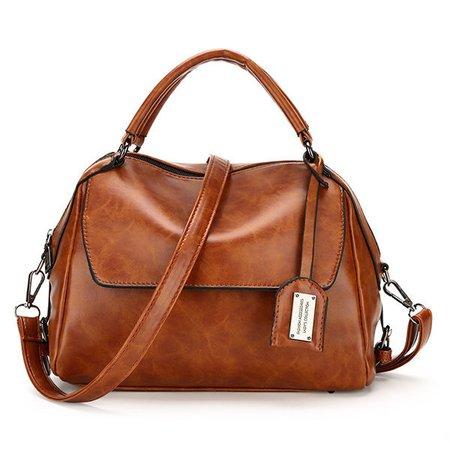 Vintage PU Leather Square Flap Handbag Crossbody Bag
