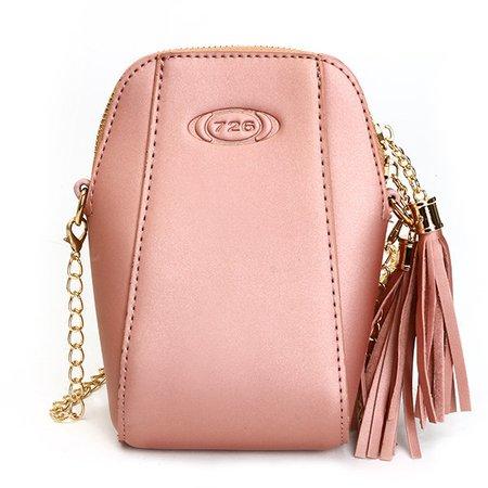 Women PU Leather Stylish Tassel Shell Shape Phone Bags Mini Crossbody Bags