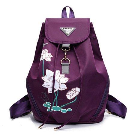 Elegant Flower Pattern Nylon Large Capacity Handbag