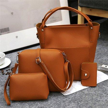 Women 4 PCS Versatile PU Leather Bucket Bag High-end Hobos Bag Handbag
