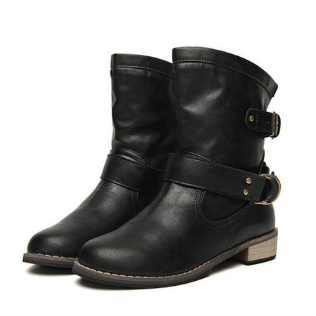 Buckle Mid Calf Slip On Flat Casual Boots