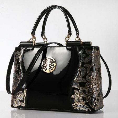 Women Embroidery Sequined Flower Patent PU Leather Luxury Europe Fashion Chains Handbag