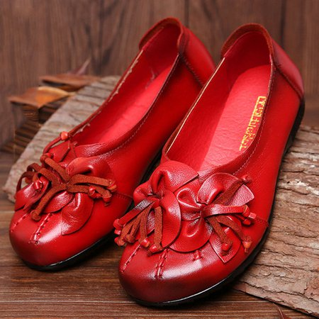 Flower Tassel Soft Leather Slip On Flat Casual Vintage Shoes