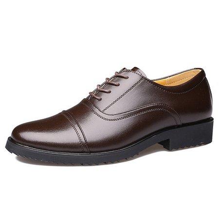Men Classic Cap Toe Breathable Oxfords Lace Up Dress Shoes
