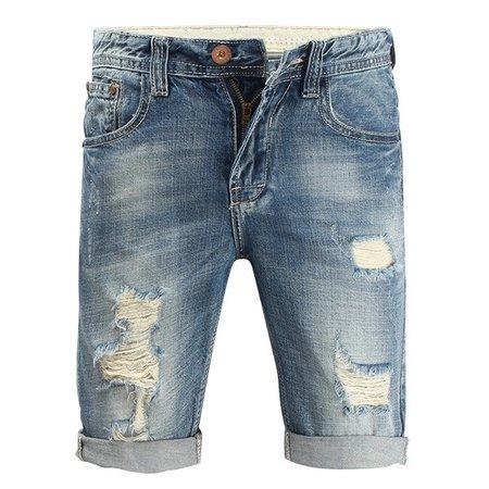 Summer Overknee Stylish Worn Hole Jeans Stone Washed Denim Shorts For Men