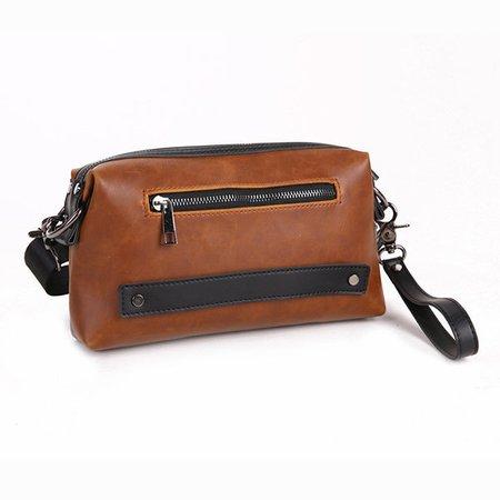 Waterproof PU Faux Leather Clutch Bag Casual Vintage Shoulder Crossbody Bag For Men