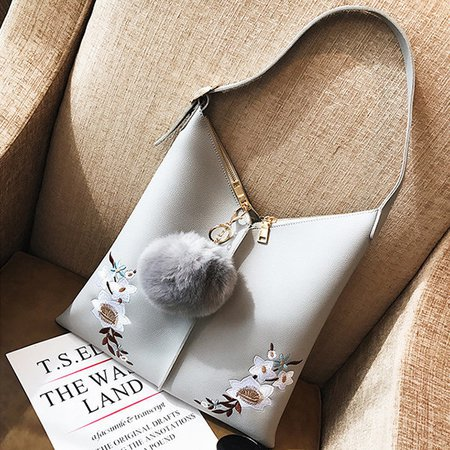 Women Embriodery Casual  Fuzzy Ball Shoulder Bags Stiching Large Capacity Bucket Bags