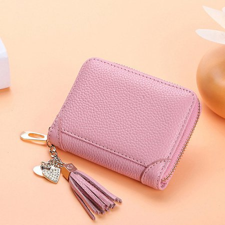 Genuine Leather Multi-slots 20 Card Slots Zipper Small Card Holder