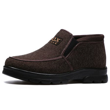 Men Old Peking Style Fabric Warm Plush Lining Ankle Casual Boots