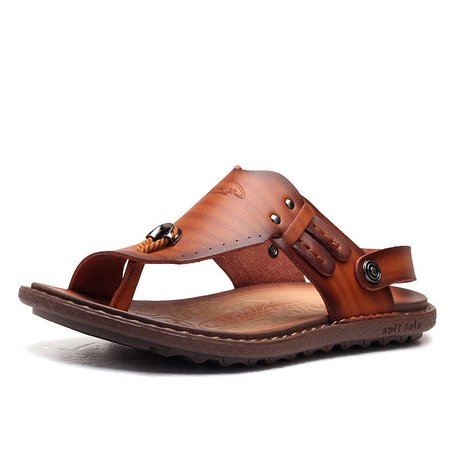 Men Clip Toe Beach Slippers Slip On Two Way Wearing Casual Sandals