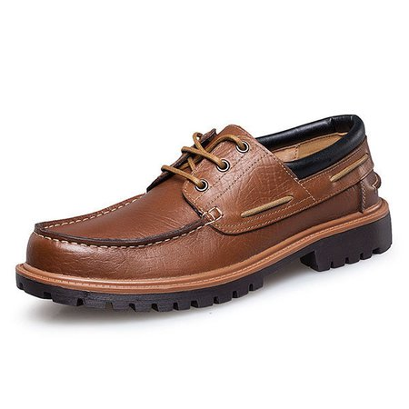 Large Size Men Faux Leather Breathable Round Toe Soft Casual Shoes