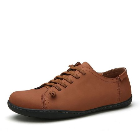 Men Hand Stitching British Style Pure Color Lace Up Faux Leather Shoes