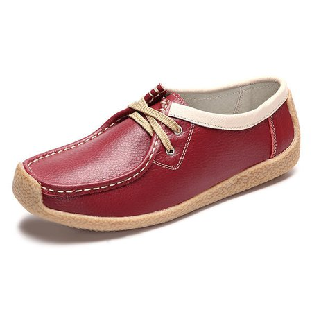 Leather Lace Up Soft Casual Flat Loafer