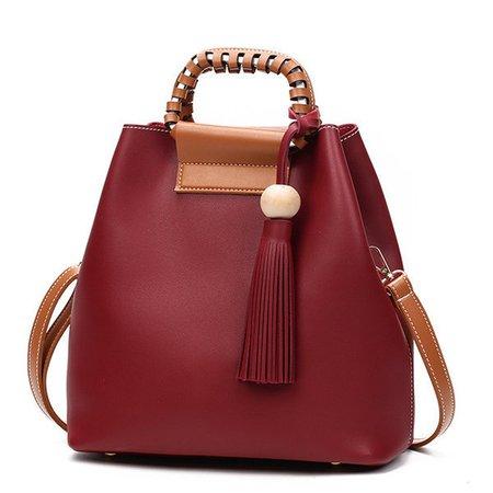 Stylish PU Leather Tassel Handbag Bucket Bag Crossbody Bags