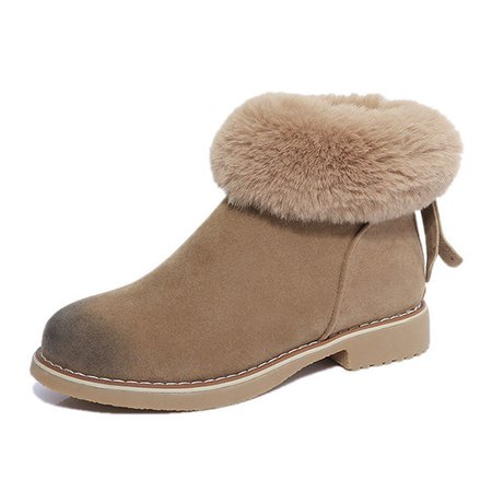 Suede Fur Lining Warm Ankle Boots