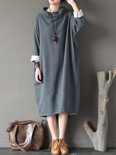 Women Casual Dress Cocoon Daytime Casual Solid Dress