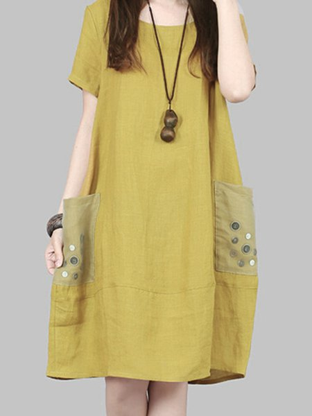 Yellow Women Casual Dress Crew Neck Cocoon Daily Short Sleeve Casual Dress