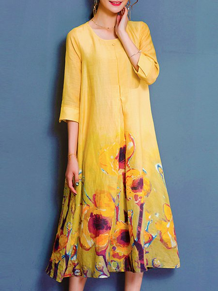 Yellow A-line Floral 3/4 Sleeve Casual Dress