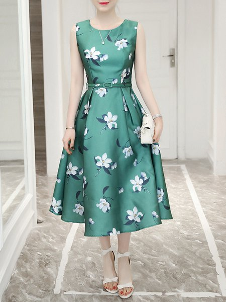 Elegant Sleeveless A-line Crew Neck Floral Party Dress