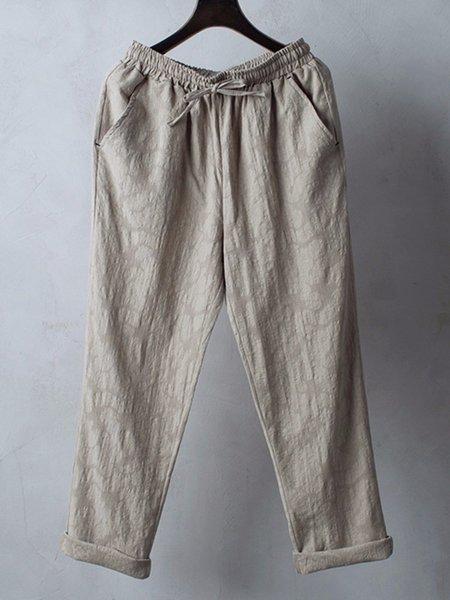 Casual Pockets Solid Drawstring Waist Pants