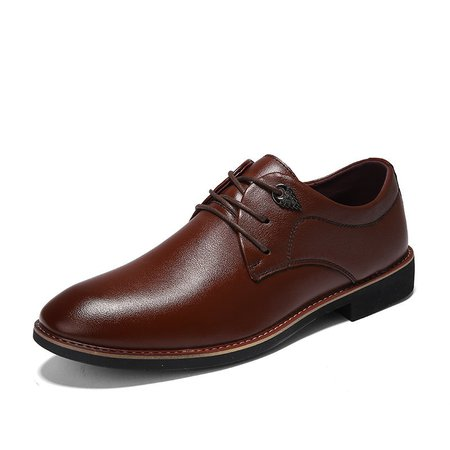 Men Soft Leather Slip Resistant Lace Up Casual Shoes
