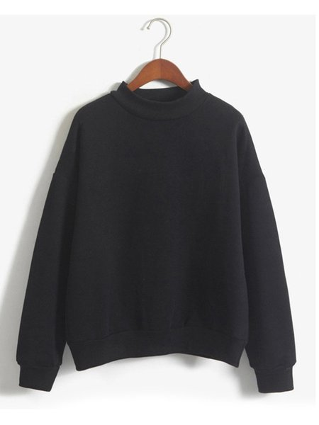 Solid Candy Color Casual Long Sleeve Sweatshirt
