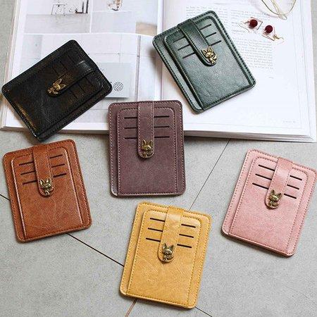 Women PU Leather Short Wallet 9 Card Holder Coin Purse