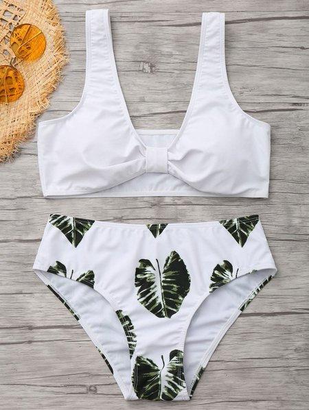 White Palm Leaf Print Bowknot Shaped Bikini