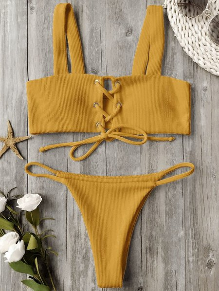 Ribbed Texture Lace Up Solid Bikini